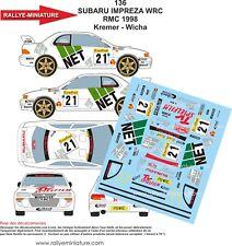 DECALS 1/32 REF 136 SUBARU IMPREZA WRC KREMER RALLY MOUNTED CARLO 1998 RALLY