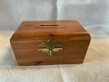 CEDAR WOOD TREASURE CHEST TRINKET BOX With Coin Slot