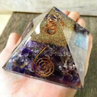 Amethyst Crown Charkra Healing Crystal  X-Large-LG 70mm Orgone Pyramid US Seller