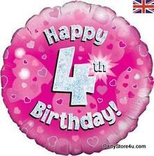"""18"""" lámina holográfica globo rosado """"Happy 4TH Cumpleaños"""" Celebración Fiesta"""