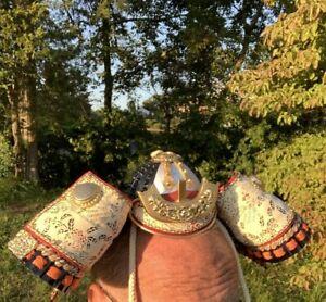Antique Japanese Samurai Warrior Head Piece Armor Hat Edo Yoshitoku Taiko ❤️sj7m