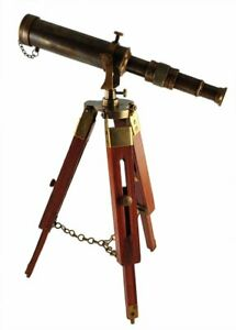 Handmade Antique Maritime Brass Telescope with Adjustable Wooden Tripod Stand