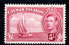 Cayman Islands 5/- P12.5 mmint SG125a lmmint 1948 Cat £75 crimson [802]