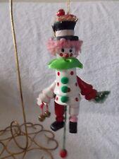 1988 Wood Kurt Adler Clown Pull String Christmas Ornament