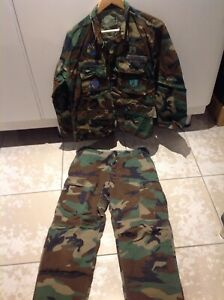 US BDU Woodland Camo, komplette Uniform in Medium short