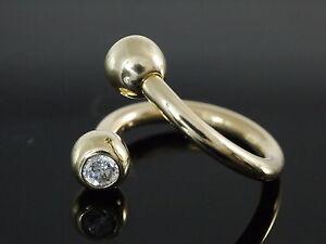 585 Gold Bauch Piercing Stift 1,6 mm 4 mm Kugeln mit Zirkonia 14 mm Größe