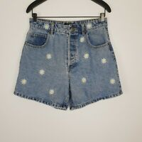 Sportsgirl Denim Shorts Daisy Floral Embroidery High Waist Blue Size 12