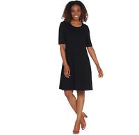 H by Halston Crepe Scoop Neck Elbow Sleeve Dress BORDEAUX Color Size Petite L