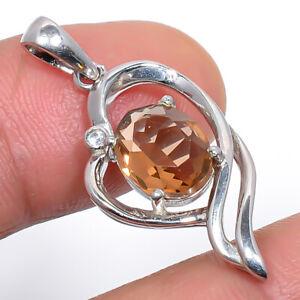 """Smokey Quartz & Cz Gemstone 925 Sterling Silver Jewelry Pendant 1.3"""" S2637"""