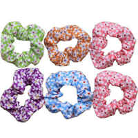 Scrunchies in assorted colours. Daisy print floral cotton hair scrunchies