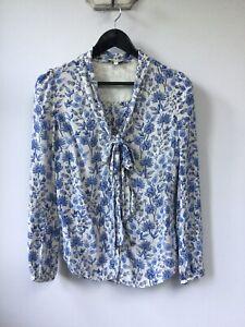 Stunning Ladies Somerset By Alice Temperley Blue Floral 100% Silk Blouse, UK Siz