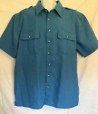 John Blair Men's Size XL Short Sleeve Button Front Blue Shirt With Pockets
