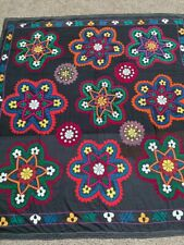 NAVY BLUE ANTIQUE UZBEK VINTAGE WALL HANGING HAND EMBROIDERY TABLECLOTH SUZANI