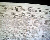 COLUMBIA SC South Carolina Very Rare CONFEDERATE South 1862 Civil War Newspaper