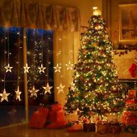 12 Star 138 LED Star Window Curtain String Lights with Remote Control 8 Modes