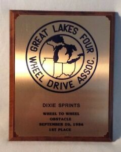 Trophy Plaque Great Lakes Four Wheel Drive Assoc. Dixie Sprints 1986 1st Place