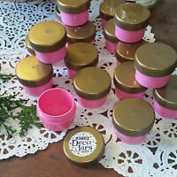 12 Made in USA Cosmetic 1/2oz Plastic PINK Jars Gold Lids Tops Container 3803