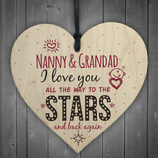 Love You Nanny &amp Grandad Nan Wooden Heart Wall Plaque Decor Keepsake Gift