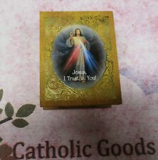 "2"" x 2 1/2"" Wooden Gold Embossed Felt Lined - Divine Mercy Rosary Keepsake Box."