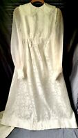 VTG 60s White Lace Overlay Empire Wedding Dress XS/S Train Puff Sleeve Collared