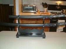 """Set of 2 Replica Samurai Katana Swords 39"""" & 26"""" with Stand"""