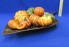 Thanksgiving Autumn Leaf Tray w/ Paper Mache Pumpkin Gourds Decor Centerpiece
