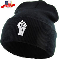 Fist Embroidered Cuffed Beanie Skully Patch Knit Hat Winter Cap