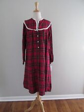 36a2828523 Lanz of Salzburg Womens Flannel Nightgown Red Plaid Size Small S 100 Cotton