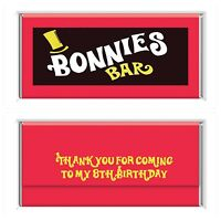 Wonka Bar Theme Personalised Chocolate Wrappers Printable Digital -Print At Home