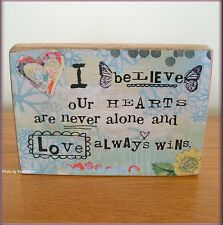 """OUR HEARTS SENTIMENT BLOCK BY KELLY RAE ROBERTS 5"""" HIGH X 7"""" WIDE FREE SHIPPING"""