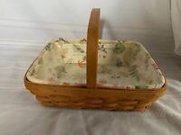 Longaberger Napkin Basket Combo, Botanical Fields Liner, Plastic Protector