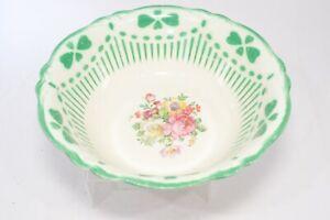 "Vintage Homer Laughlin Virginia Rose Green Heart Striped Trim Serving Bowl 9"""