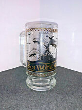 Vintage SEA WORLD Tall Glass Souvenir Mug - SHAMU - Dolphins