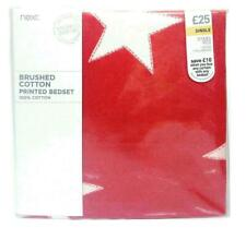 NEXT Brushed Cotton Stars Red Single Duvet Cover & 1 Pillowcase ~ Winter Bed Set