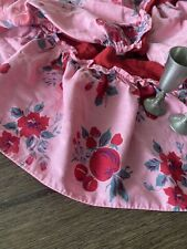 Vintage 1940 Handmade Pink And Red Printed Cotton Valance