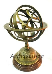 Antique Brass Armillary Sphere Engraved Nautical Tabletop Astrolabe Maritime