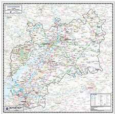 GLOUCESTERSHIRE COUNTY WALL MAP - LAMINATED EDITION - MAP SCALE 1:100,000