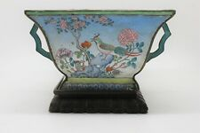 Chinese Enamel Flower Pot w/ Handles, Stand Birds Chrysanthemums