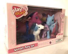 """Play Right Wonder Pony Set 4-pk Plastic Horses 4.5-2.5"""" Tall Little Pony Playset"""