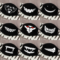 Cartoon Face Mask Cover Funny Unisex Teeth Mouth Black Cotton Printed Washable.