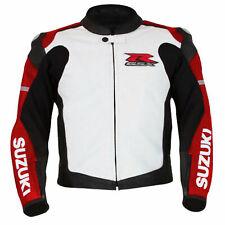 Suzuki GSXR Motorcycle Jackets Leather Moto Armour Sports Biker Racing Slim Fit