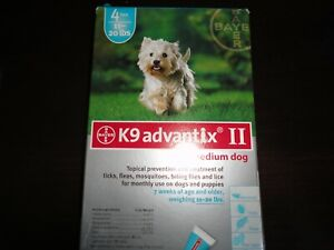 K9 ADVANTIX II FLEA AND TICK CONTROL FOR DOG 11-20LBS - 4 PACK NEW IN BOX