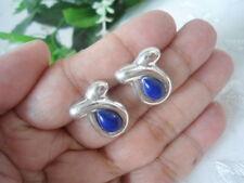 Sterling Silver - Natural LAPIS LAZULI Teardrop Swirl 3.20g - Post Earrings