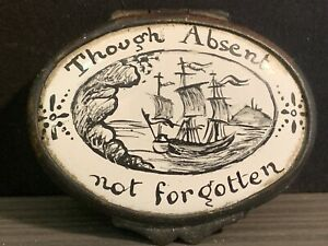 Rare English 18th C. Battersea Bilston Three Mast Ship Enamel Snuff Patch Box NR