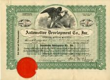 New York 1918 Automotive Development Company Stock Certificate Antique Cars