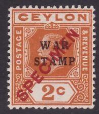 Ceylon. SG 330s, 2c brown-orange. Specimen. Mounted mint.