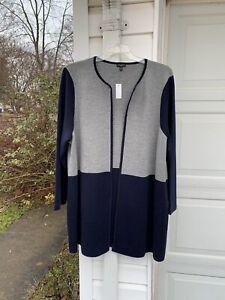 NWT Talbots Pretty Gray & Navy Blue Merino Wool Blend Long Cardigan 3X 22W 24W