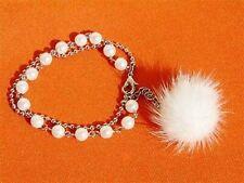 Wedding Bridal X'MAS SNOW ~w Swarovski White PEARL Faux FUR Charm Chain Bracelet