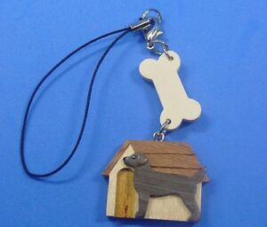 Xmas Dog Key Chain Real Wooden Dog Purse Bag Strap - Black Lab #S027