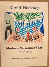 Original David Hockney 1989 Modern Museum signed Art Santa Ana exhibition poster